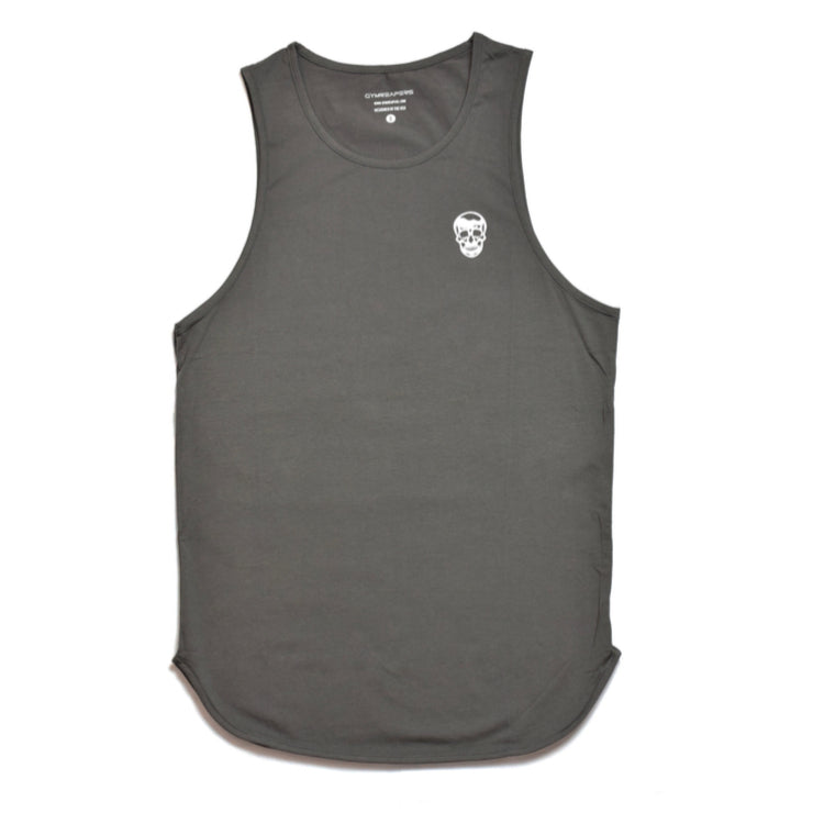 Gymreapers extended tank in dark gray with white logo