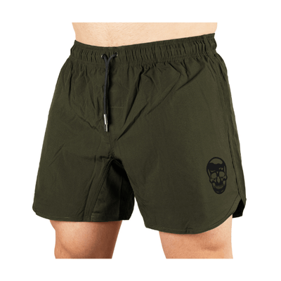 Gymreapers training shorts in green on model