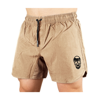 Gymreapers training shorts in sand color on a model