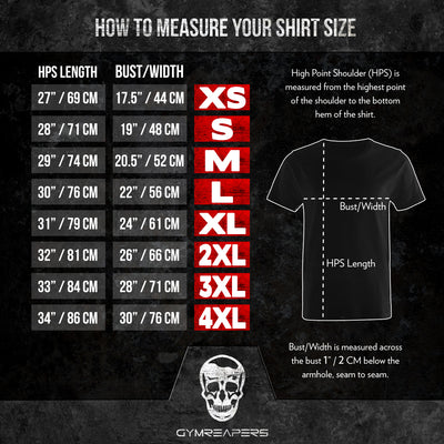 Gymreapers Basic Shirt Size Guide