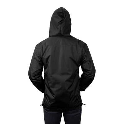 Gymreapers windbreaker in black back view with hood