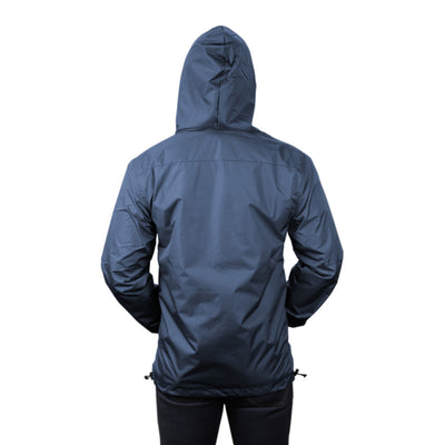 Gymreapers windbreaker in navy back view with hood