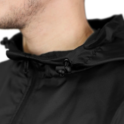 Gymreapers windbreaker in black hood details