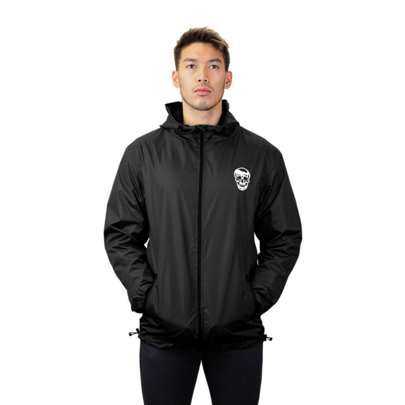 Gymreapers windbreaker in black on model