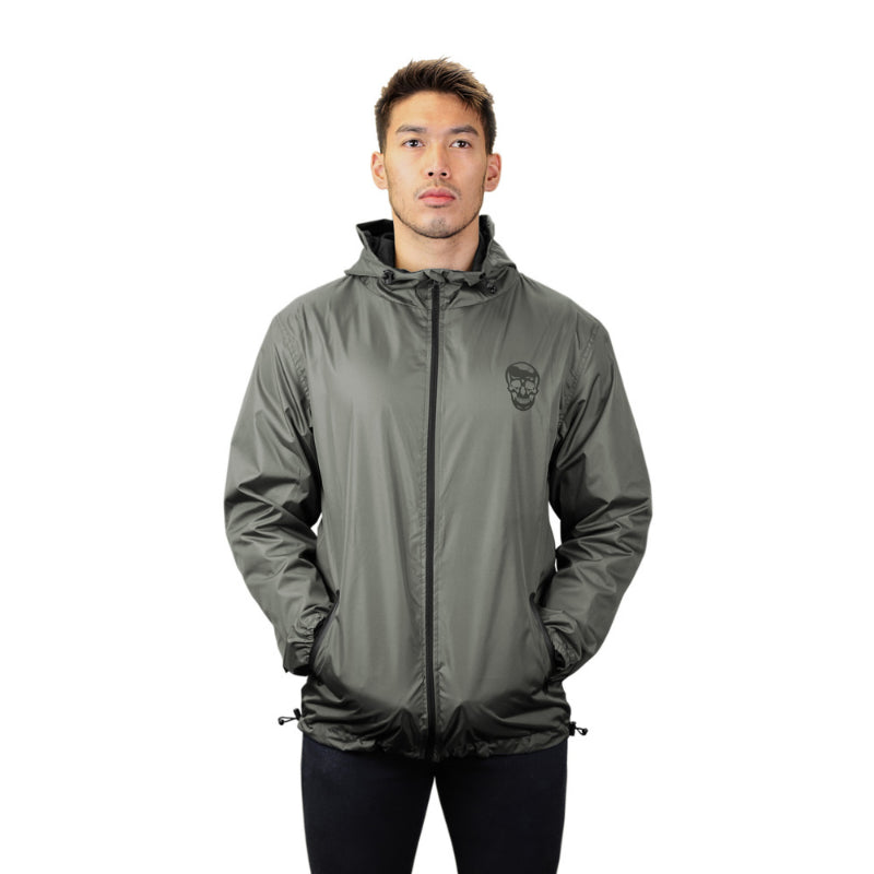 Gymreapers windbreaker in gray on model