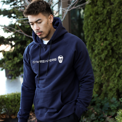 Gymreapers hoodie in navy outside