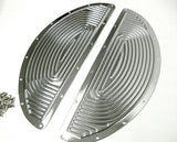 Harley oval half moon floorboards retro inserts - ribbed chrome