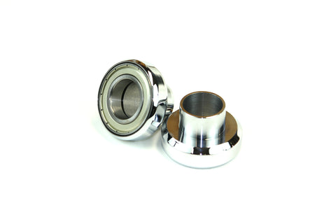 "Old-Stf VL I-beam springer conversion neck cups 1"" to 1-1/8"" big twin front end - Chrome"