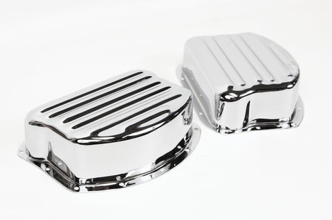 Paughco Harley Panhead Rocker arm covers - Ribbed Chrome