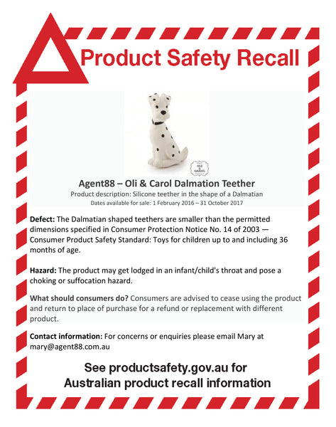 Oli & Carol Dalmation Teether Product Recall