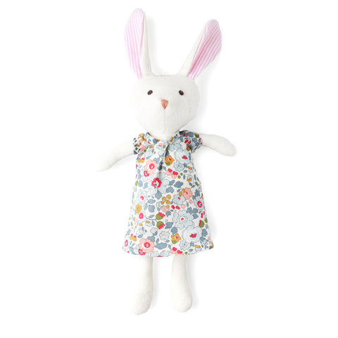 Emma Rabbit in Liberty Sweet Rose Dress by Hazel Village | Wild & Whimsical Things www.wildandwhimsicalthings.com.au