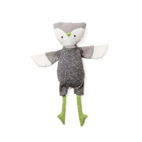 Jeremy Owl in Storm Grey Romper by Hazel Village | Wild & Whimsical Things www.wildandwhimsicalthings.com.au