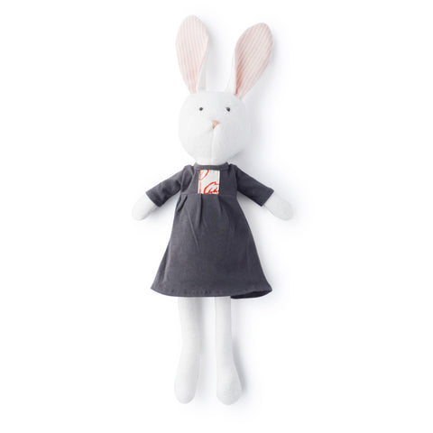 Penelope Rabbit in Pebble Gray Dress by Hazel Village | Wild & Whimsical Things www.wildandwhimsicalthings.com.au