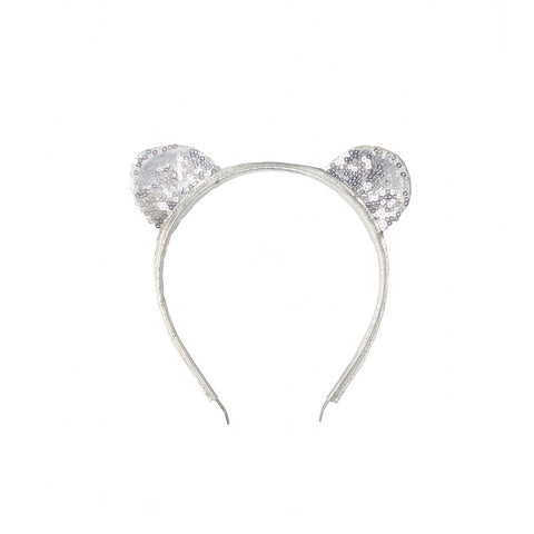 Woodstock Cat Ear Headband - Silver Sparkles