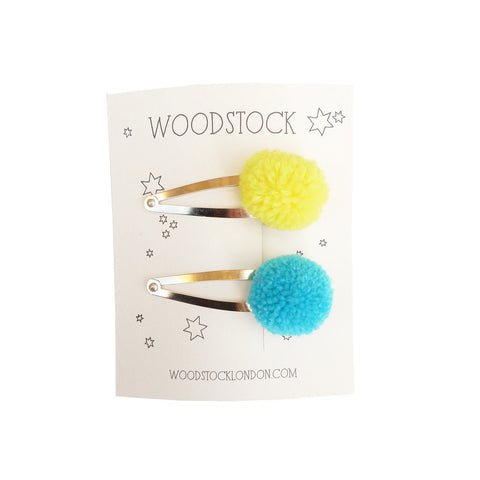 Yellow + Blue Mini Pom Pom Clips by Woodstock | Wild & Whimsical Things www.wildandwhimsicalthings.com.au