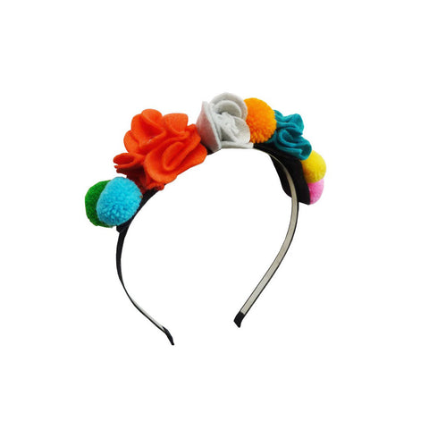 Pom Pom Flower Headband by Woodstock | Wild & Whimsical Things www.wildandwhimsicalthings.com.au
