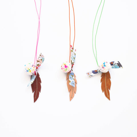 Feather Pom Pom Necklaces by Yume | Wild & Whimsical Things www.wildandwhimsicalthings.com.au