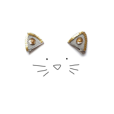 Woodstock cat ear clips grey