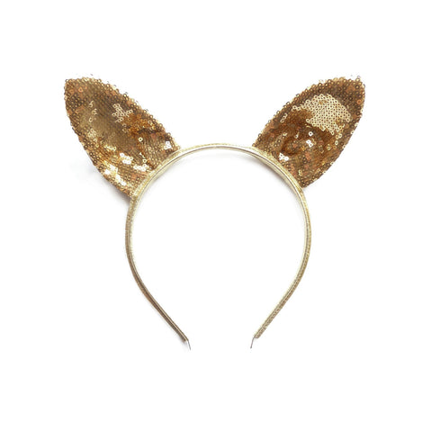Woodstock rabbit ear headband gold sparkles