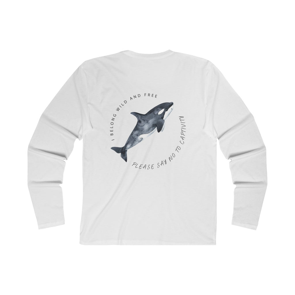 Orcas Belong In The Sea Long Sleeve Organic White Tee wanderlust, keiko, keiko conservation, wandering, travel, = - Thessalonike