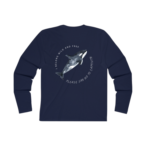 Orcas Belong In The Sea Long Sleeve Organic Tee- Blue wanderlust, keiko, keiko conservation, wandering, travel, = - Thessalonike