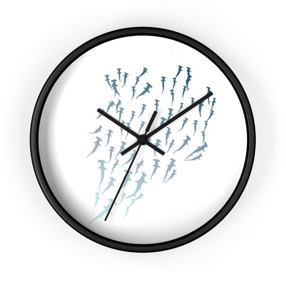 School Of Hammerheads Wall Clock- Blue Ombre wanderlust, keiko, keiko conservation, wandering, travel, = - Thessalonike