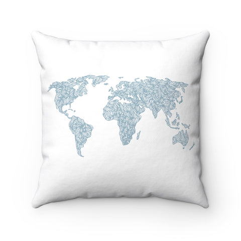 Map Of The World Throw Pillow wanderlust, keiko, keiko conservation, wandering, travel, = - Thessalonike