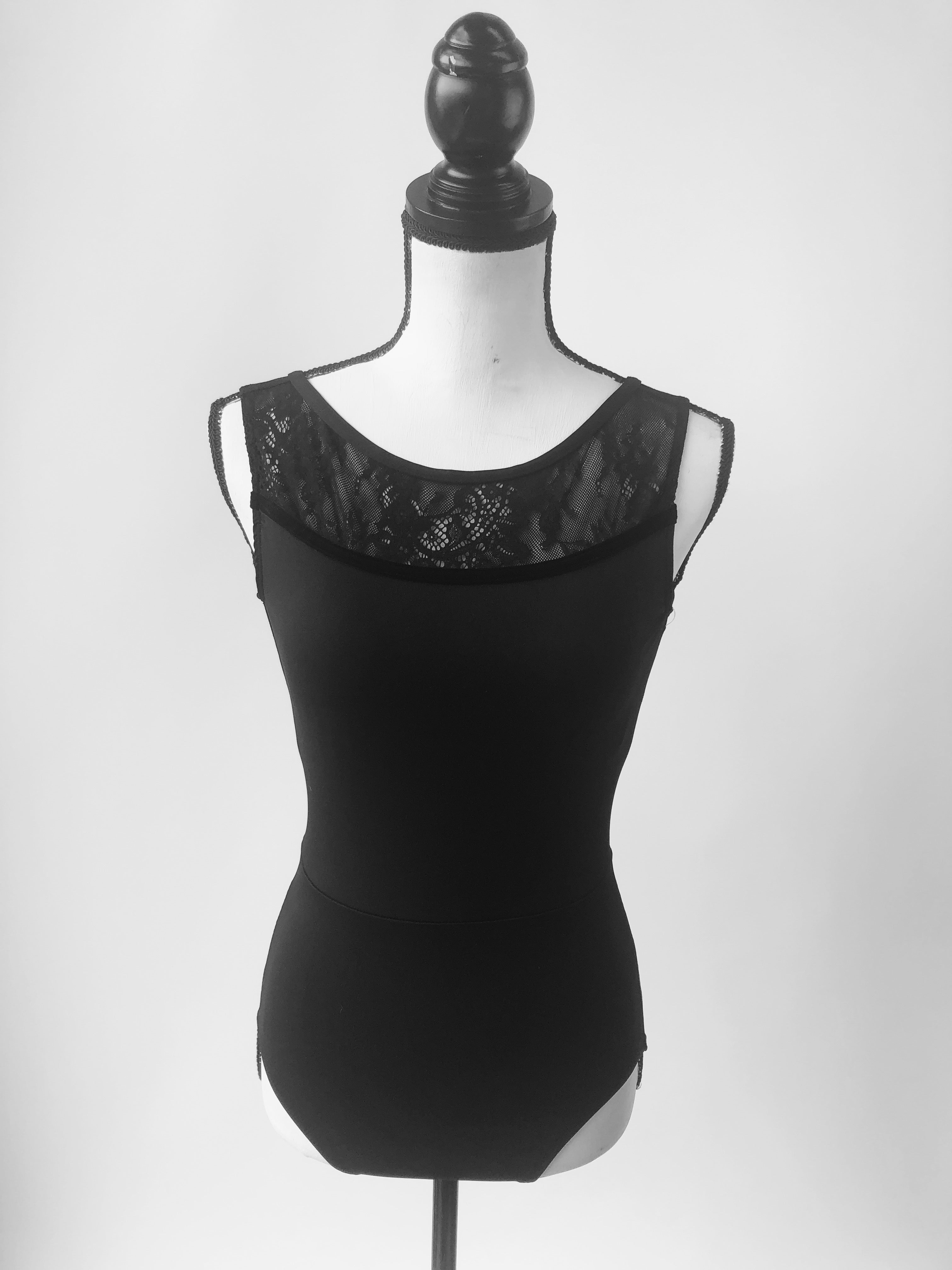 1080KLV Ainsliewear Camille Leotard with Kara Lace and Velvet Trim