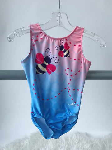 7822 Mondor Turquoise Feather Gymnastics Leotard Bodysuit