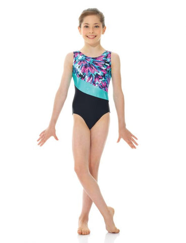 27858 Mondor Turquiose Feather Leotard Bodysuit
