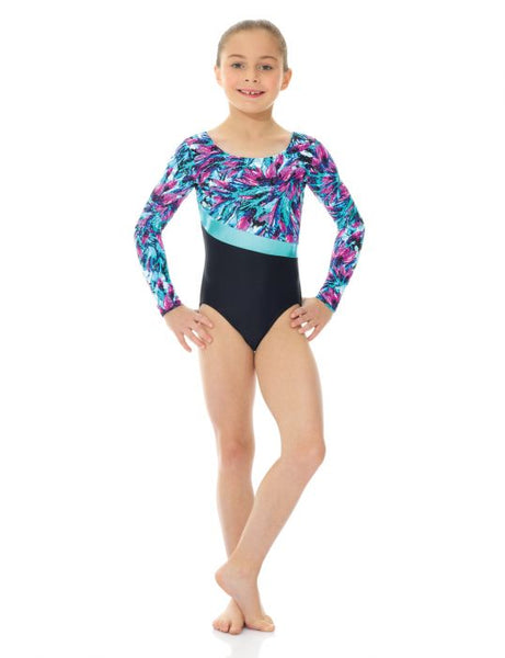 27859 Mondor Turquoise Feather Long Sleeve Leotard Bodysuit