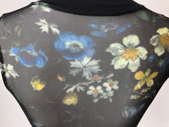 4142 Motionwear Zip Front Floral Sublimation Bodysuit Leotard
