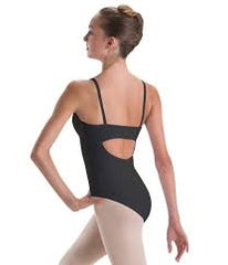 2506 Motionwear Ladies Pinch Front Princess Back Cami Leotard BLACK