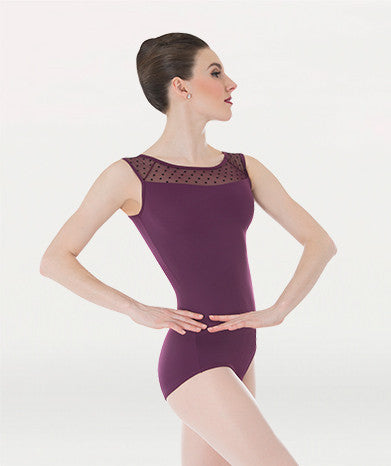 Body Wrappers Ladies Dotted Yoke Leotard P1040