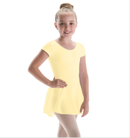 4370 Motionwear Cap Sleeve Bow Back Leotard with Skirt