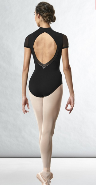 L8732 Bloch High Neck Motif Cap Sleeve Leotard Bodysuit LADIES