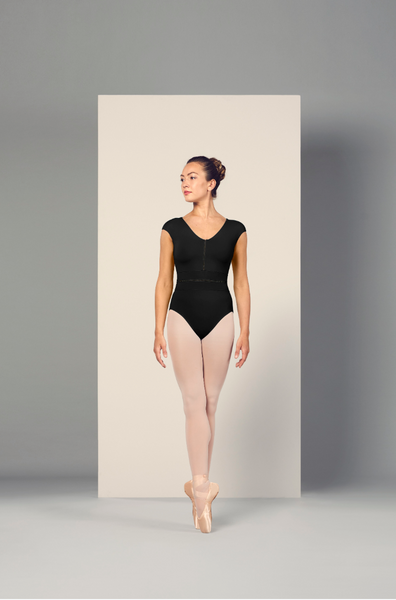 L4942 Bloch Monaco V-neck Cap Sleeve Leo Bodysuit WOMENS
