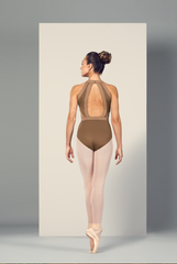 L4975 Bloch Color Block Open Back Halter Leo Bodysuit WOMENS