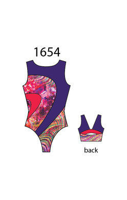 Motionwear Girls Gymnastic Suit with Open Back 1654