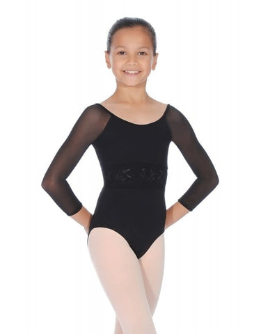 M111C Bloch Girls Embroidered Waist ¾ Sleeve Leo