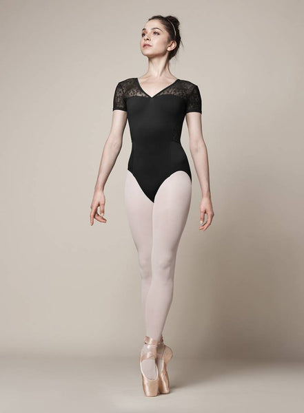 M5073LM Bloch Olivina V-Neck Cap Sleeve Leotard Bodysuit