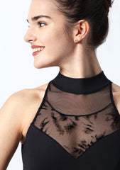 IT31539 Intermezzo Open Back Flock Mesh Leotard