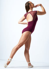 IT31566 Intermezzo Cap Sleeve Open Back Mesh Panel Leotard