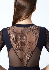 IT31567 Intermezzo ¾ Sleeve Zip Front Lace Panel Leotard