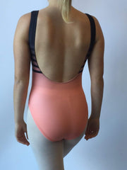 Motionwear 4244 Black/Coral Sublimated Tank Leotard Bodysuit