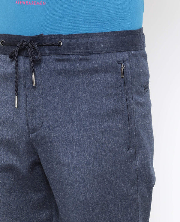 Silky-Drawstring JOGGER-Navy Blue TROUSERS RARE RABBIT