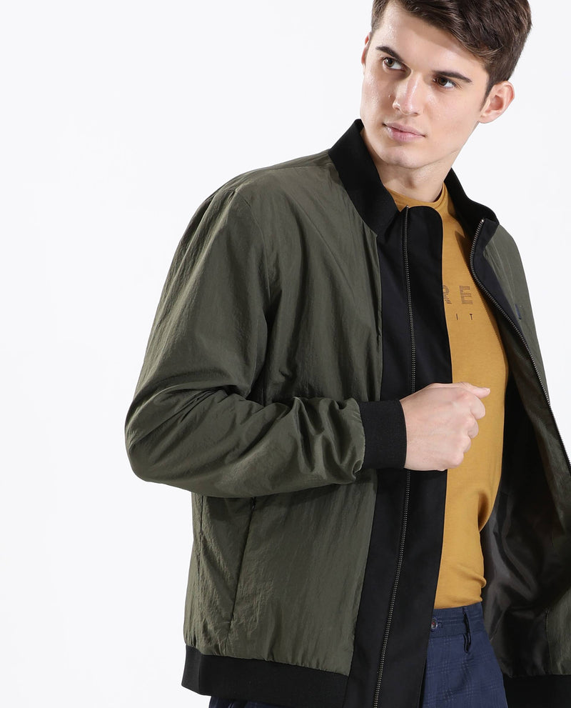BASE-MEN'S STYLISH BOMBER JACKET-OLIVE JACKETS RARE RABBIT