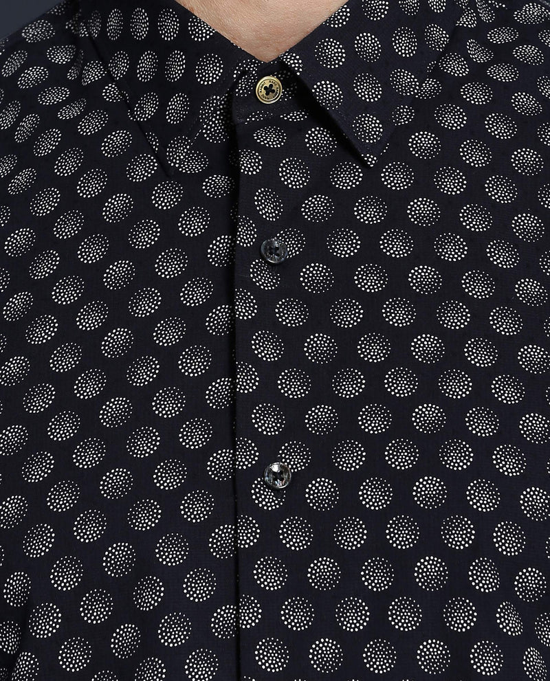 BALL POINT-MEN'S PRINTED SHIRT-NAVY SHIRT RARE RABBIT