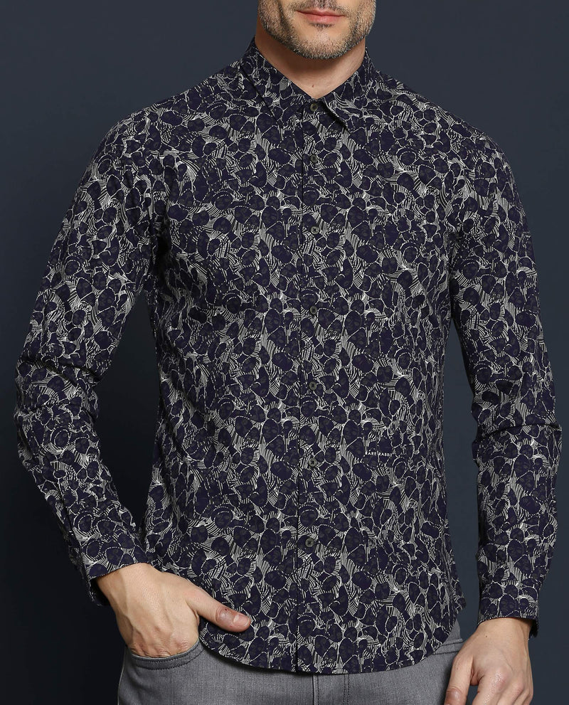 DEZI-ABSTRACT PRINT - NAVY SHIRT RARE RABBIT