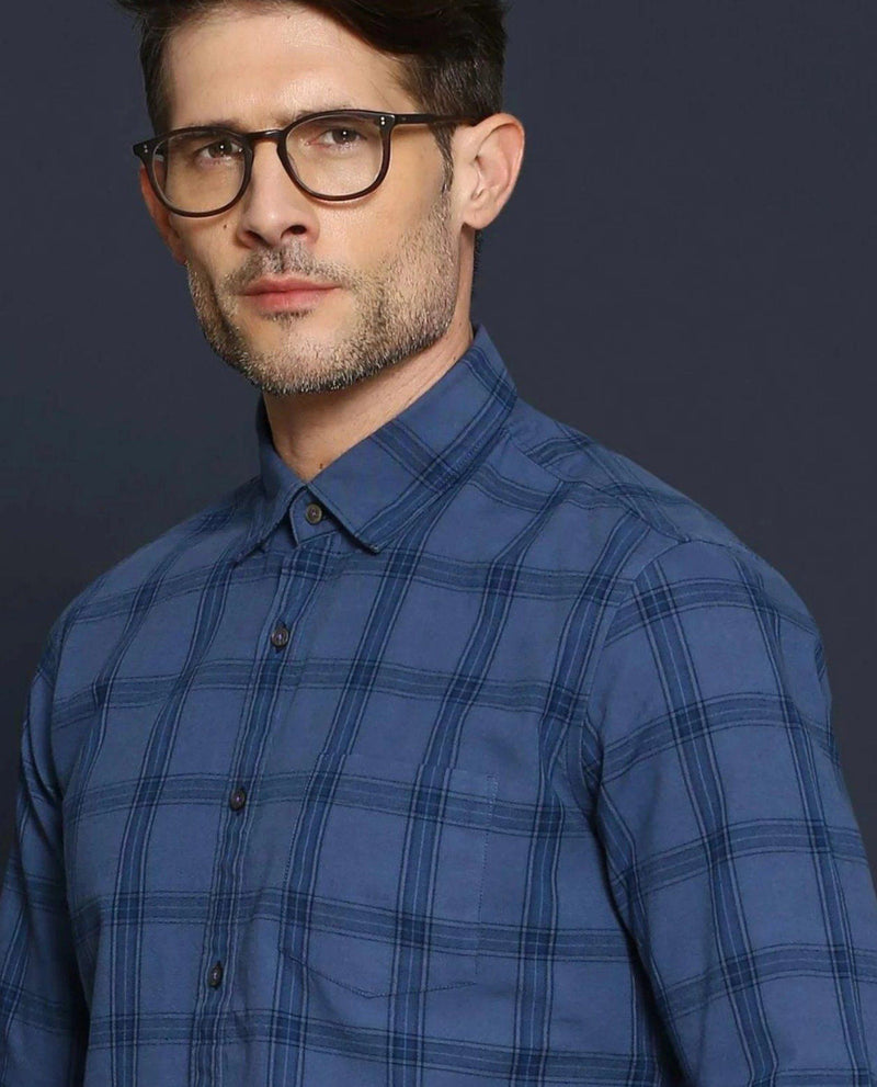 DEIM-CHECK SHIRT -BLUE